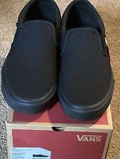 ⭐️Vans Men's Asher Black Canvas Slip On Skate Shoes(size 10)NIB ⭐️