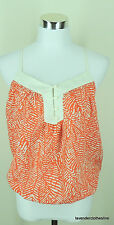 Forever 21 S Orange & White Racer Back Ikat Flirty Blouse