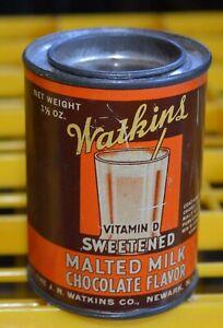"""Vintage Watkins Winona Minnesota Malted Milk Chocolate Flavor Sample Tin 2 1/2"""""""