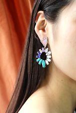 orecchini Clip Pinze Anello Irregolare Turchese Blu Bianco Retrò J7
