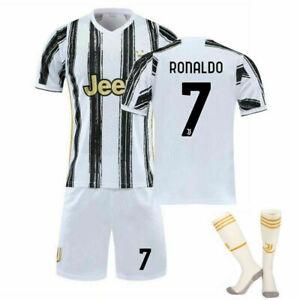 2020-21 Juve Cristiano RONALDO CR7 Home Jersey Kids Soccer Youth Size Set