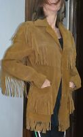 Vintage Schott Rancher Western Fringe suede leather Jacket Coat Size 36