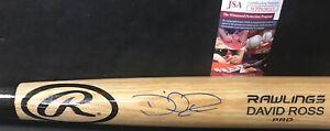 David Ross Chicago Cubs JSA WITNESS COA Autographed Signed Bat Blonde