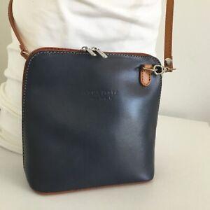 VERA PELLE Genuine Leather Shoulder/Crossbody mini Bag Tan/Gray Made in Italy