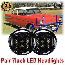 """Pair 7""""inch Round LED Headlights for Chevrolet Chevy Truck Bel Air Impala Camaro"""