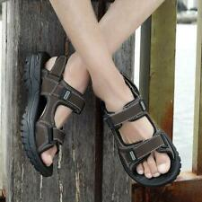 Mens Open Toe Leather Sandals Casual Beach Shoes Trekking Hiking Summer Slippers