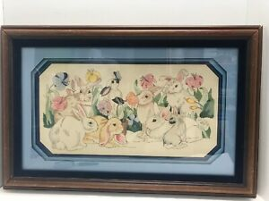 "Bunny Rabbits Pencil Art Original Drawing Painting Framed Matted 24"" X 16"" Total"