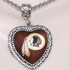 NFL WASHINGTON REDSKINS HANDMADE HEART PENDANT/CHARM  25MM GLASS CABOCHON.