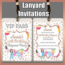 Personalised LANYARD Invitation SLEEPOVER Birthday Party Girls Slumber Invite