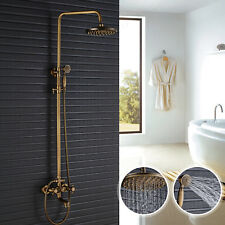Antique Brass Shower Faucet System Rain Head Hand Shower Bathtub Filler Spout