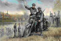 Zvezda 3632 - 1/35 WWII Deutsches R12 Krad Mit Fahrer/Figuren - Neu