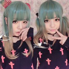 Straight Full Wigs Hair Anime Cosplay Gradient Lolita Harajuku Blue and Flax Hot
