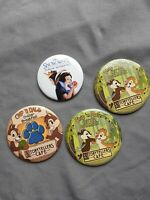 Lot of 4 Disney Chip 'n Dale - Critter Breakfast Storytellers Cafe Button Snow W
