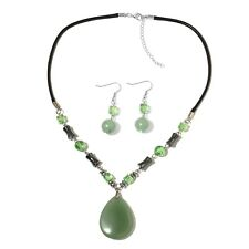 "Stainless Steel Green Aventurine, Green Glass, Earring Necklace 2"" Set Cttw 22"