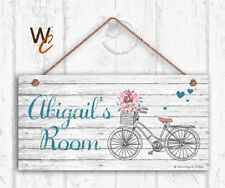 Bicycle Sign, Personalized Sign, Kid's Name, Kids Door Sign, Shabby 5x10 Sign