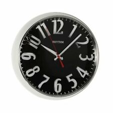 Rhythm Chrome Large Bold Wall Clock - Modern Polished Silver & Black  - CMG777NR
