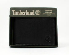 Timberland Genuine Pebble Leather Removable Passcase Wallet Black