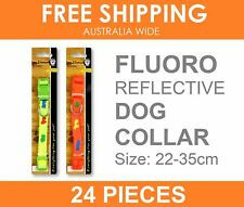 24 x NEON Colour Nylon Adjustable Reflective Safety Dog Pet Collar 22-35cm BULK