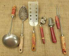 6 Wood Red Handled Kitchen Utensils VINTAGE Spatula Ladle Can Opener Fork Spoon