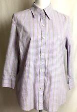 IZOD womens button shirt LARGE purple blue green plaid 3/4 sleeve stretch (G827)