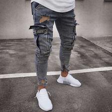 Men Denim Ripped Skinny Biker Jeans Destroyed Frayed Slim Fit Pocket Cargo Pants