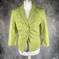 PHASE EIGHT Lime Green Button Up Blazer Jacket Occasion Wedding UK 8