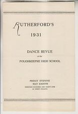 1931 PROGRAM - RUTHERFORD'S 1931 DANCE REVUE AT POUGHKEEPSIE HIGH SCHOOL NY