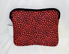 J Crew Neoprene Pouch Tech Case Black With Red Hearts Zipper Closure NWTS New