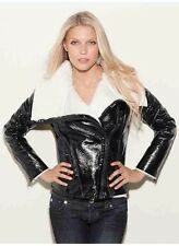Guess Kiely High Shine Black Jacket With Faux Shearling Lining At Collar Size XS
