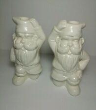 (2) Vintage Nancy Lopez 1979 Garden Gnome Pottery Candle Holders Figures Japan