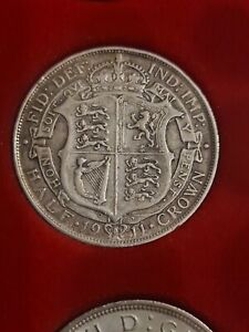 1911 Half Crown George V / 5th Full Silver Coin Extra Fine Condition