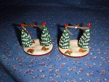 Two Hallmark Christmas Ornaments 1979 Outdoor Fun Missing Swings 2 Trees Birds