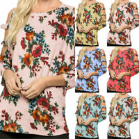Ladys Plus Size Floral Shirts Blouse Cold Shoulder Loose Long Sleeve T-Shirt Top