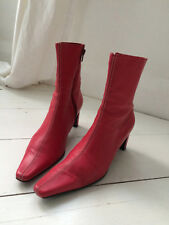 Women's stylish raspberry red high heel real leather Office ankle boots UK 6/39