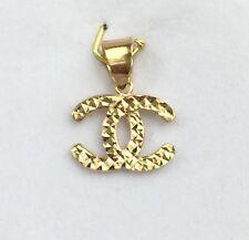 18k Solid Yellow Gold Cute Small Diamond Cut Charm/ Pendant.