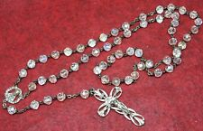 Vintage Crystal Beads & Sterling Silver Crucifix Rosary made in Rome Italy