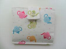 Handmade Tea Bag Wallet Cream with Coloured Tea Pots