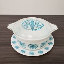 New ListingRare Pyrex White Turquoise Hex Signs 475 2.5 Qt Casserole w/ Lid & Charger Plate