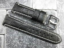 22mm Black Gator Grain Leather Strap Watch Band Tang Buckle NAVITIMER W
