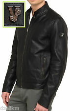 NWT Versace Jeans Lamb Leather Moto Jacket in Black Size M or 40(US) - 50(EU)