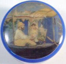 LEC (Leclair) Limoges France White Porcelain Man Painting Woman Trinket Box