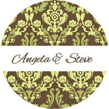 120 Personalized Custom Sage Green Damask Wedding Round Stickers Envelope Seals