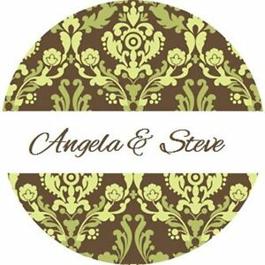 120 Personalized Custom Sage Green Damask Wedding Round Stickers Envelope Seals