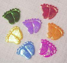 LOT de 7 appliques multicolores - Pieds de Bébé - tissu nacré - 15 x 18 mm