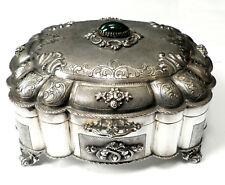 Silberdose,Schmuck Konfekt Schatulle,800 Silber,Art Deco,innen vergoldet,17,5 cm