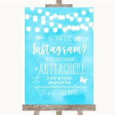 Wedding Sign Aqua Sky Blue Watercolour Lights Instagram Photo Sharing
