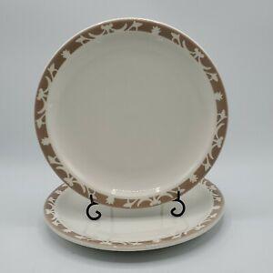 "Set of 2 VTG  Syracuse China Nutmeg 9"" Luncheon Plates Restaurant Ware Beige"