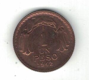 CHILE RARE 1 PESO UNC COIN 1942 YEAR KM#179 BERNARDO O'HIGGINS
