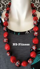 Hawaii Wedding RED Kukui Nut Lei Graduation Luau Hula Necklace Hibiscus Solid