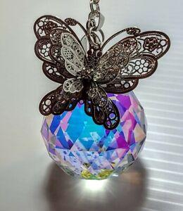 "Handmade butterfly Crystal Ball Large 2""/50mm AB prism Suncatcher DIY"